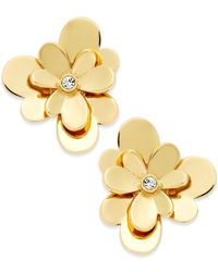kate spade new york | Metallic Gold-tone Pansy Blossom Stud Earrings | Lyst