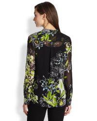 BCBGMAXAZRIA | Black Floralprinted Silk Blouse | Lyst