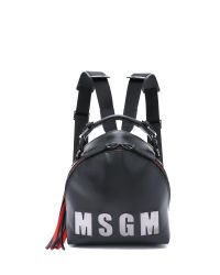 MSGM - Black Logo Backpack - Bordeaux - Lyst