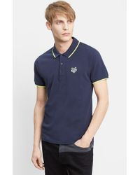 KENZO - Blue Tipped Pique Polo With Tiger Logo for Men - Lyst