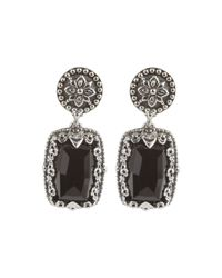 Konstantino - Black Silver & Onyx Rectangular Drop Earrings - Lyst