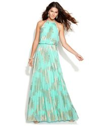 Xscape - Blue Petite Sleeveless Pleated Halter Gown - Lyst