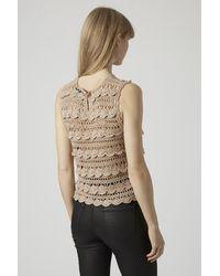 TOPSHOP - Pink Lurex Crochet Top - Lyst