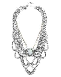 BaubleBar | Metallic 'opal Elizabeth' Bib Necklace - Antique Silver/ Opal | Lyst