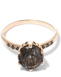 Anna Sheffield - Metallic Gold Blackened Rutilated Quartz Hazeline Solitaire Ring - Lyst
