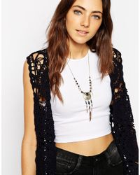 ASOS | Black Sun Feather Charm Necklace | Lyst