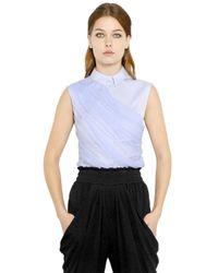 Vionnet | Blue Silk Tulle Cotton Poplin Shirt | Lyst
