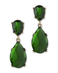 Kenneth Jay Lane   Green Emerald Teardrop Clip Earring   Lyst