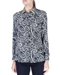 Etro - Blue Long-sleeve Paisley-print Silk Blouse - Lyst