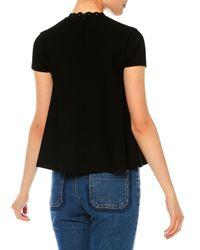 Valentino - Black Short-sleeve Stretch Eyelet Top - Lyst