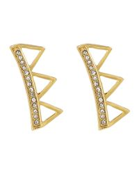 Rebecca Minkoff | Metallic Triangle Climber Earrings | Lyst