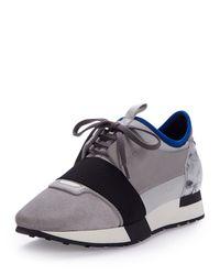 Balenciaga - Gray Mixed-media Leather Sneaker - Lyst