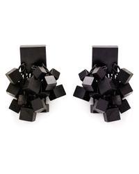 Monies | Black Hanging Cube Clip-on Earrings | Lyst