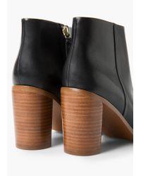 Mango | Black Heel Leather Ankle Boot | Lyst