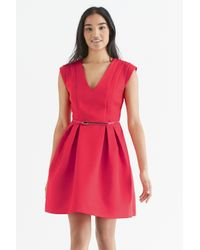 Oasis - Orange Jacquard Skater Dress - Lyst