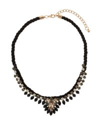 Mikey - Black Hanging Crystal Fillagary Rope Necklace - Lyst