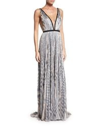 J. Mendel - Gray Metallic Plunging V-neck Gown - Lyst