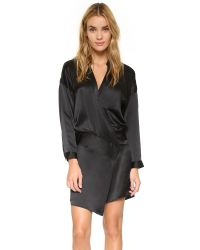 Michelle Mason | Black Oversized Wrap Mini Dress | Lyst