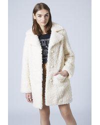 Lyst - TOPSHOP Faux Fur Teddy Coat in Natural b4faa9900b884