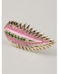 Alison Lou - Metallic Palm Leaf Earring - Lyst
