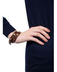 Tory Burch - Brown Studded Wrap Bracelet - Lyst