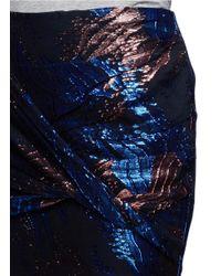 Maje - Multicolor Shiny Jacquard Drape Mini Skirt - Lyst
