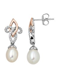 Lord & Taylor | White Sterling Silver With 14kt. Rose Gold Pearl And Diamond Drop Earrings | Lyst