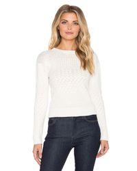 Indah - White Jane Knit Crop Sweater - Lyst