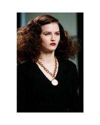 Bottega Veneta - Metallic Necklace with Porcelain Medallion - Lyst