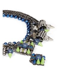 Assad Mounser | Multicolor Neon Spike Crystal Curb Chain Necklace | Lyst