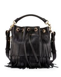 Saint Laurent - Black Emmanuelle Tiered Fringe Bucket Bag - Lyst