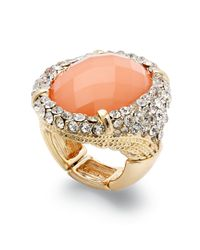 INC International Concepts | Orange Goldtone Coral Oval Stone Pave Cocktail Ring | Lyst