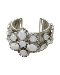Adia Kibur - Metallic Silver Threaded Metal And White Crystal Cuff - Lyst