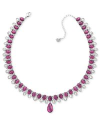 Swarovski - Purple Rhodium-Plated Ruby-Colored Crystal Collar Pendant Necklace - Lyst