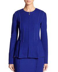 St. John - Blue Milano Flared Knit Jacket - Lyst