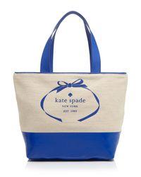 kate spade new york | Blue Tote - Heritage Spade Logo | Lyst