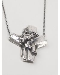 Maxime Llorens | Metallic Cross Crystal Pendant Necklace for Men | Lyst