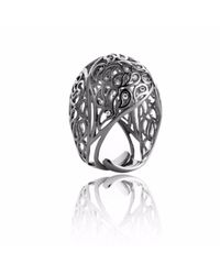 Sonal Bhaskaran | Metallic Shikhara Ruthenium Dome Ring Clear Cz | Lyst