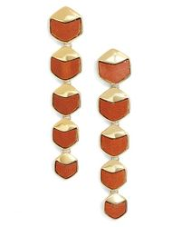 Rachel Zoe | Brown 'alana' Leather Linear Earrings | Lyst