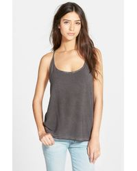 Betro Simone | Gray Mixed Media Racerback Tank | Lyst