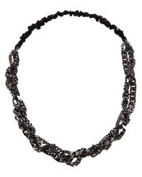 Maison Michel | Black Polished Gunmetal Chain Headband | Lyst
