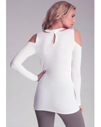 Bebe | White Cold Shoulder Cut Out Top | Lyst
