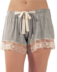 Flora Nikrooz | Gray Lace Trim Shorts | Lyst