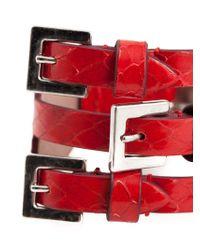 Alexander McQueen - Red Buckled Cuff - Lyst