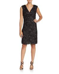 Marina | Black Soutache Rosette Sheath Dress | Lyst