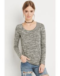 Forever 21 - Green Crochet-paneled Marled Top - Lyst