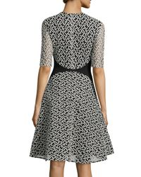 Lela Rose - Black Dotted-tulle Fit-and-flare Dress - Lyst