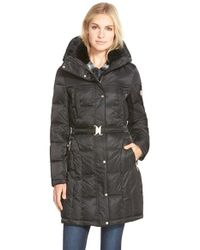 Vince Camuto | Black Belted Down & Feather Fill Coat With Faux Fur | Lyst