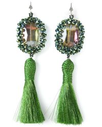 Night Market | Green Tassel Earrings | Lyst