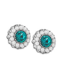 Carolee - Metallic Silvertone Blue Green Crystal and Imitation Pearl Round Button Earrings - Lyst